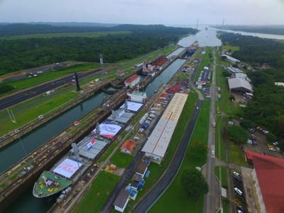 The Missy Enterprise going through the Panama Canal with the first copper concentrate shipment from First Quantum's Cobre Panama Mine. (CNW Group/First Quantum Minerals Ltd.)