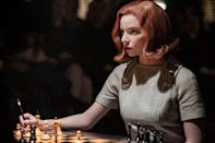 """<p><em>Nominated for: Best Television Limited Series or Motion Picture Made for Television; Best Performance by an Actress in a Limited Series or Motion Picture Made for Television (Anya Taylor-Joy)</em></p> <p>Drugs, sex, and obsession are all the same to Beth Harmon, orphaned chess prodigy who plays the people in her life like pieces on a board, always thinking seven steps ahead just to survive. This sleek series might inspire you to pick up the game, or try a new eyeliner look.</p> <p><a href=""""https://cna.st/affiliate-link/2Z6F81fjBAMUbaw55t2E8q41eU5eDQYHEH5vMP7s8X5gXGxyxd3zMWPNSLVfSbD6S5rxYoM8tGAYsiVuAMA3TgnvJUVy?cid=5fa2e80853352ad65a54987a"""" rel=""""nofollow noopener"""" target=""""_blank"""" data-ylk=""""slk:Watch now on Netflix"""" class=""""link rapid-noclick-resp""""><em>Watch now on Netflix</em></a></p>"""