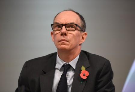 Bank of England Deputy Governor for Markets and Banking, Dave Ramsden attends a Bank of England news conference, in the City of London