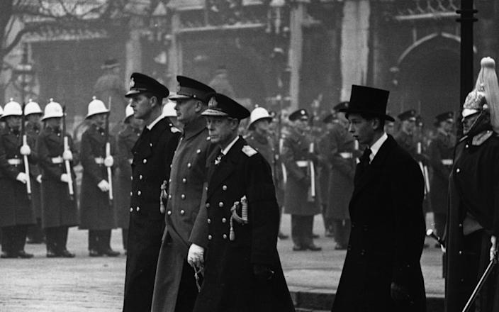 At the funeral of King George VI in London are (from left to right) Prince Philip, Duke of Edinburgh, the Duke of Gloucester, the Duke of Windsor and the Duke of Kent
