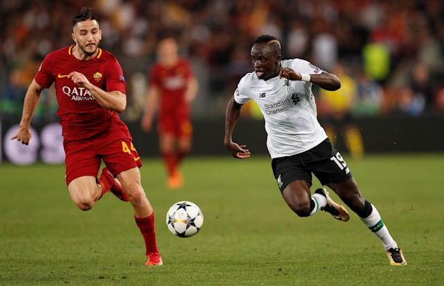Soccer Football - Champions League Semi Final Second Leg - AS Roma v Liverpool - Stadio Olimpico, Rome, Italy - May 2, 2018 Liverpool's Sadio Mane in action with Roma's Konstantinos Manolas Action Images via Reuters/John Sibley