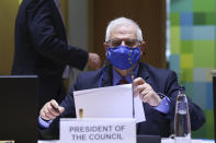 European Union foreign policy chief Josep Borrell arrives for a European Foreign Affairs Ministers meeting at the European Council headquarters in Brussels, Monday, March 22, 2021. (Aris Oikonomou, Pool Photo via AP)