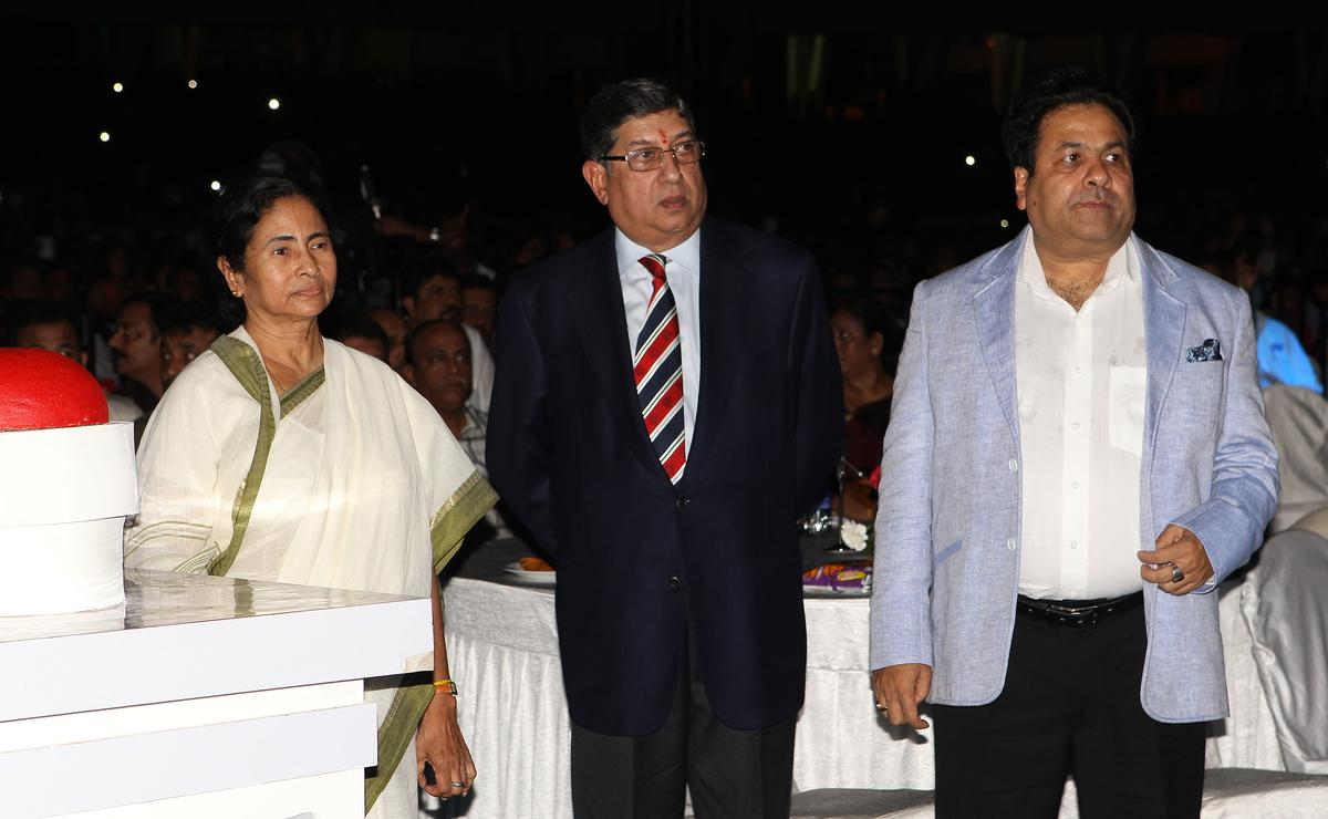 West Bengal Chief Minister Mamata Banerjee opens proceedings with N Srinivathsan (President BCCI) and Rajeev Shukla, Chairman, IPL during the Pepsi Indian Premier League opening ceremony held at the Salt Lake Stadium in Kolkata on the 2nd April 2013..Photo by Ron GauntSPORTZPICS ..Use of this image is subject to the terms and conditions as outlined by the BCCI. These terms can be found by following this link:..https://ec.yimg.com/ec?url=http%3a%2f%2fwww.sportzpics.co.za%2fimage%2fI0000SoRagM2cIEc&t=1490415017&sig=i3peBV3gYUI8F0PTtQfoZg--~C