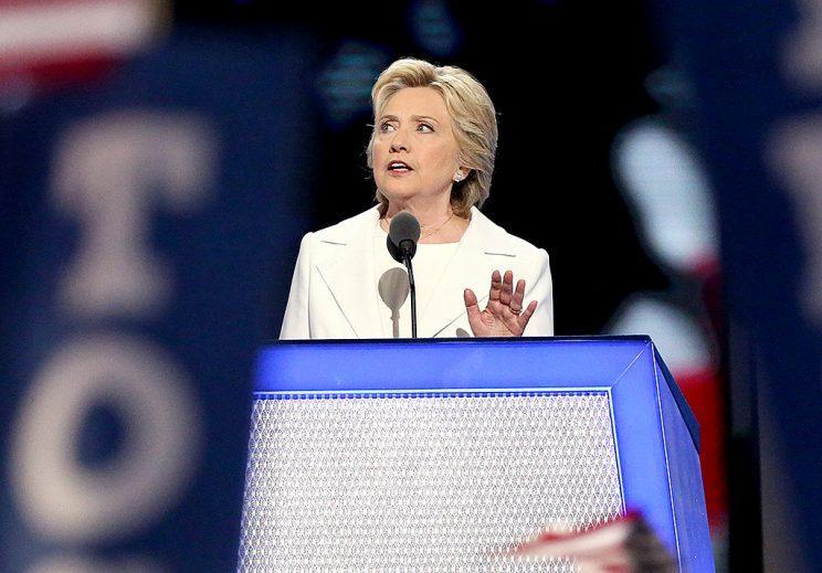The historic moment: Hillary Clinton accepts the nomination on the fourth day of the Democratic National Convention. (Photo: Paul Morigi/WireImage)