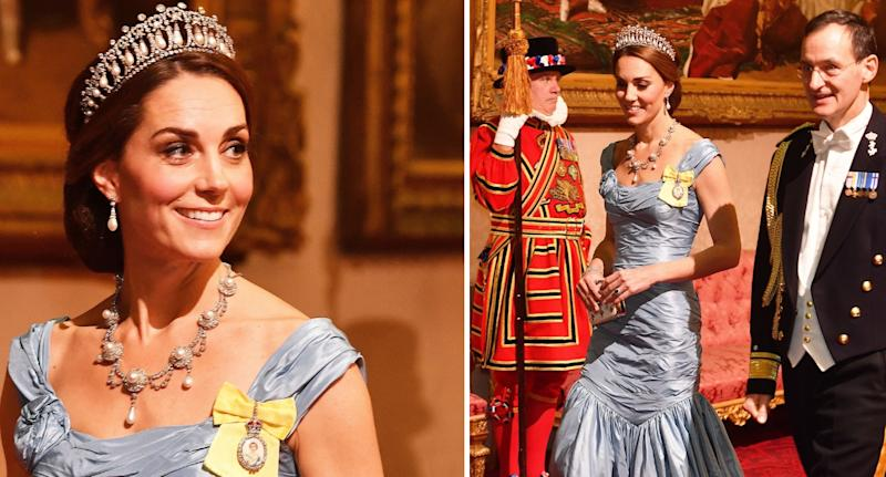 Kate Middleton dazzles in Princess Diana's tiara at Buckingham Palace dinner