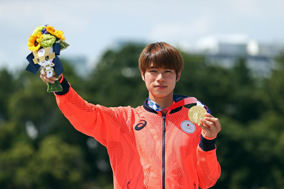 TOKYO, JAPAN - JULY 25: Yuto Horigome of Team Japan poses with his gold medal at the Skateboarding Men's Street Finals medal ceremony on day two of the Tokyo 2020 Olympic Games at Ariake Urban Sports Park on July 25, 2021 in Tokyo, Japan. (Photo by Ezra Shaw/Getty Images)