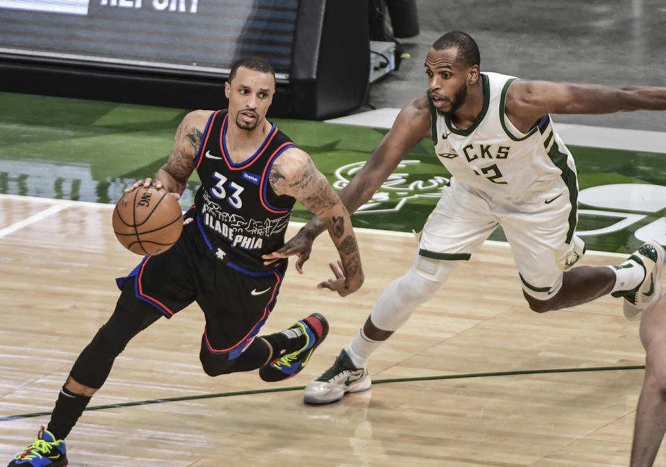 George Hill escapes from Khris Middleton's defense