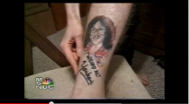 """<div class=""""caption-credit""""> Photo by: youtube/msnbc</div>There is a guy who loves Weird Al so much he got his face tattooed on his calf. In a <a rel=""""nofollow noopener"""" href=""""http://www.youtube.com/watch?v=awAxekmz0ic"""" target=""""_blank"""" data-ylk=""""slk:cable news documentary"""" class=""""link rapid-noclick-resp"""">cable news documentary</a> that aired in the year 2000, and subsequently every night when you're at your loneliest, this superfan actually meets Weird Al at a Weird Al event and shows him his ink tribute. The weird part: Weird Al acts like this happens all the time."""