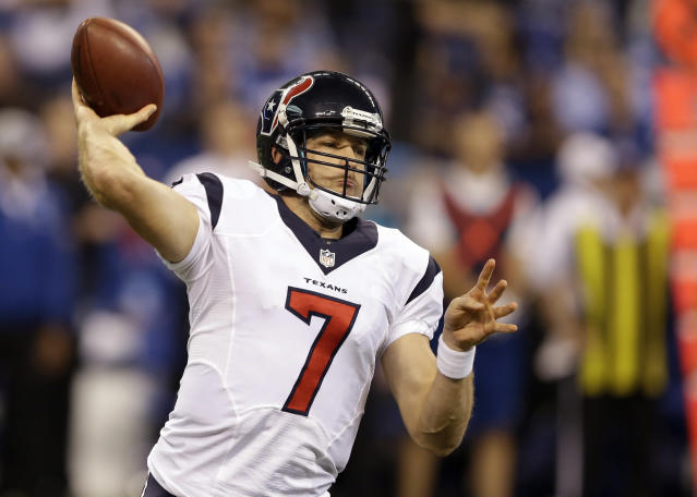 Houston Texans quarterback Case Keenum throws against the Indianapolis Colts during the first half of an NFL football game in Indianapolis, Sunday, Dec. 15, 2013. (AP Photo/Darron Cummings)