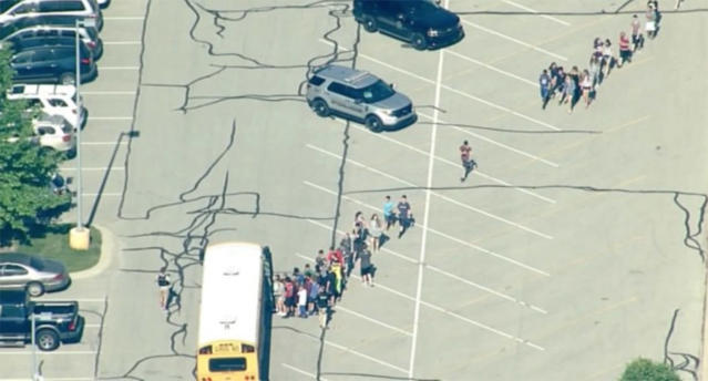 <p>Noblesville West Middle School shooting scene, Noblesville, Ind., May 25, 2018. (Photo: RTV6) </p>