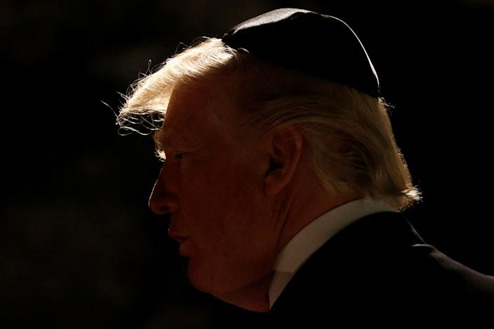President Donald Trump arrives to participate in a wreath-laying at the Yad Vashem Holocaust memorial in Jerusalem.