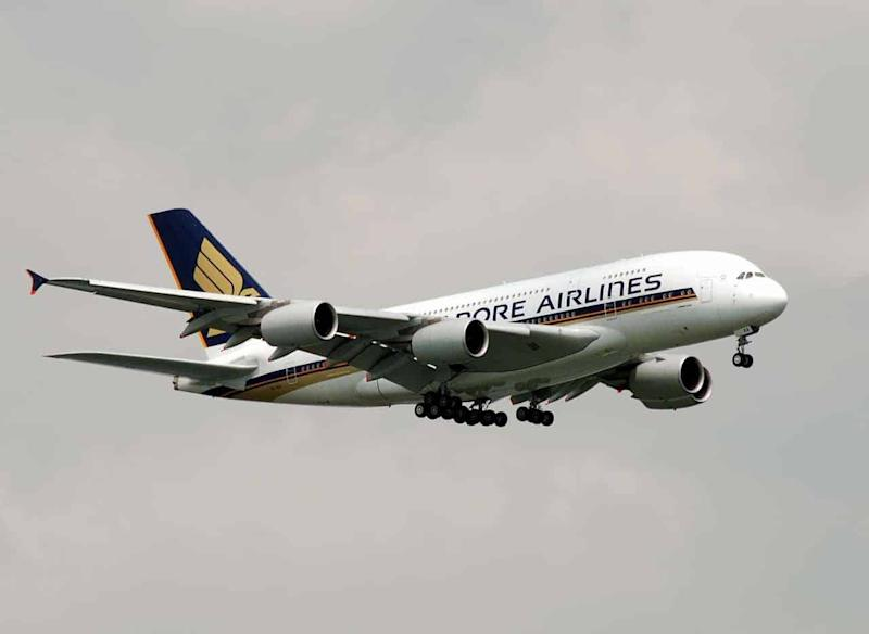 Singapore Airlines plane in the air