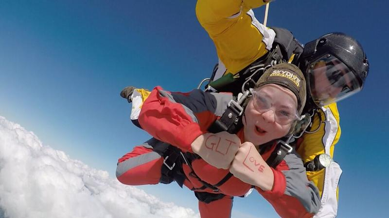 Haley Woods skydiving in New Zealand | Courtesy Haley Woods