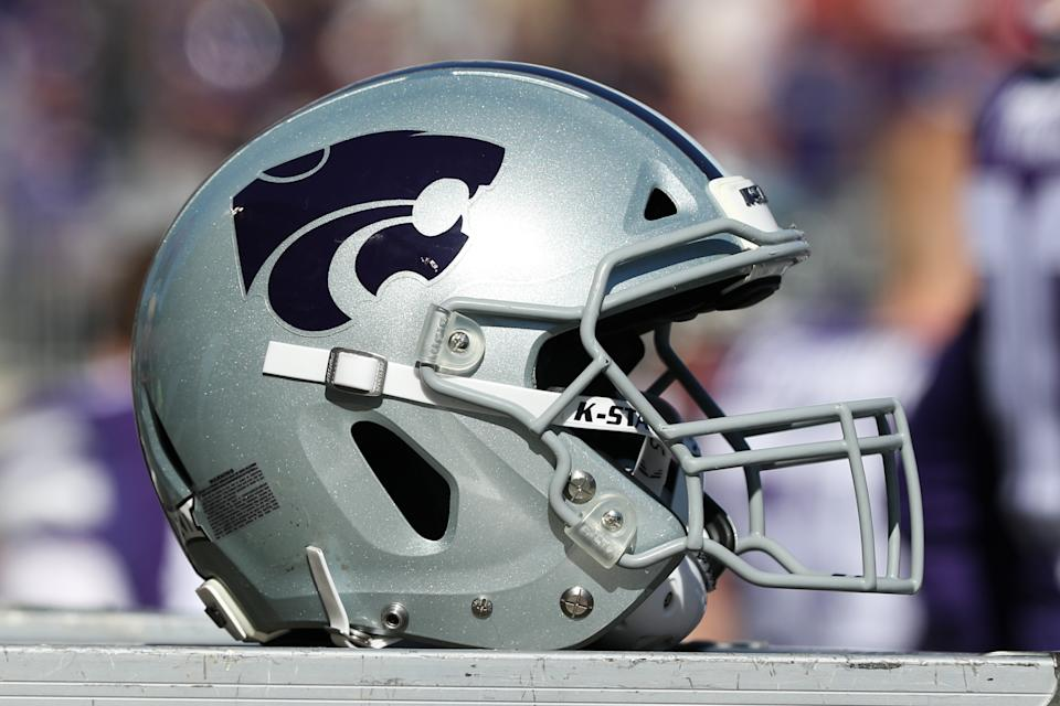 MANHATTAN, KS - OCTOBER 26: A Kansas State Wildcats helmet during a Big 12 football game between the Oklahoma Sooners and Kansas State Wildcats on October 26, 2019 at Bill Snyder Family Stadium in Manhattan, KS. (Photo by Scott Winters/Icon Sportswire via Getty Images)