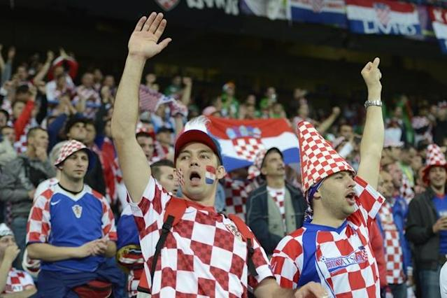 Fans of Croatia's national football team reacts prior to the Euro 2012 championships football match Republic of Ireland vs Croatia on June 10, 2012 at the Municipal Stadium in Poznan. AFP PHOTO / ODD ANDERSENODD ANDERSEN/AFP/GettyImages