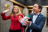 Andrew Yang and Kathryn Garcia, Democratic candidates for New York City Mayor, speak to supporters before participating in the Democratic primary debate in New York