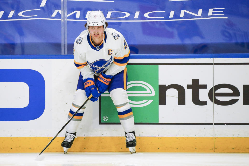 Buffalo Sabres captain Jack Eichel has been mired in NHL trade rumors for what seems like an eternity now. (Getty)