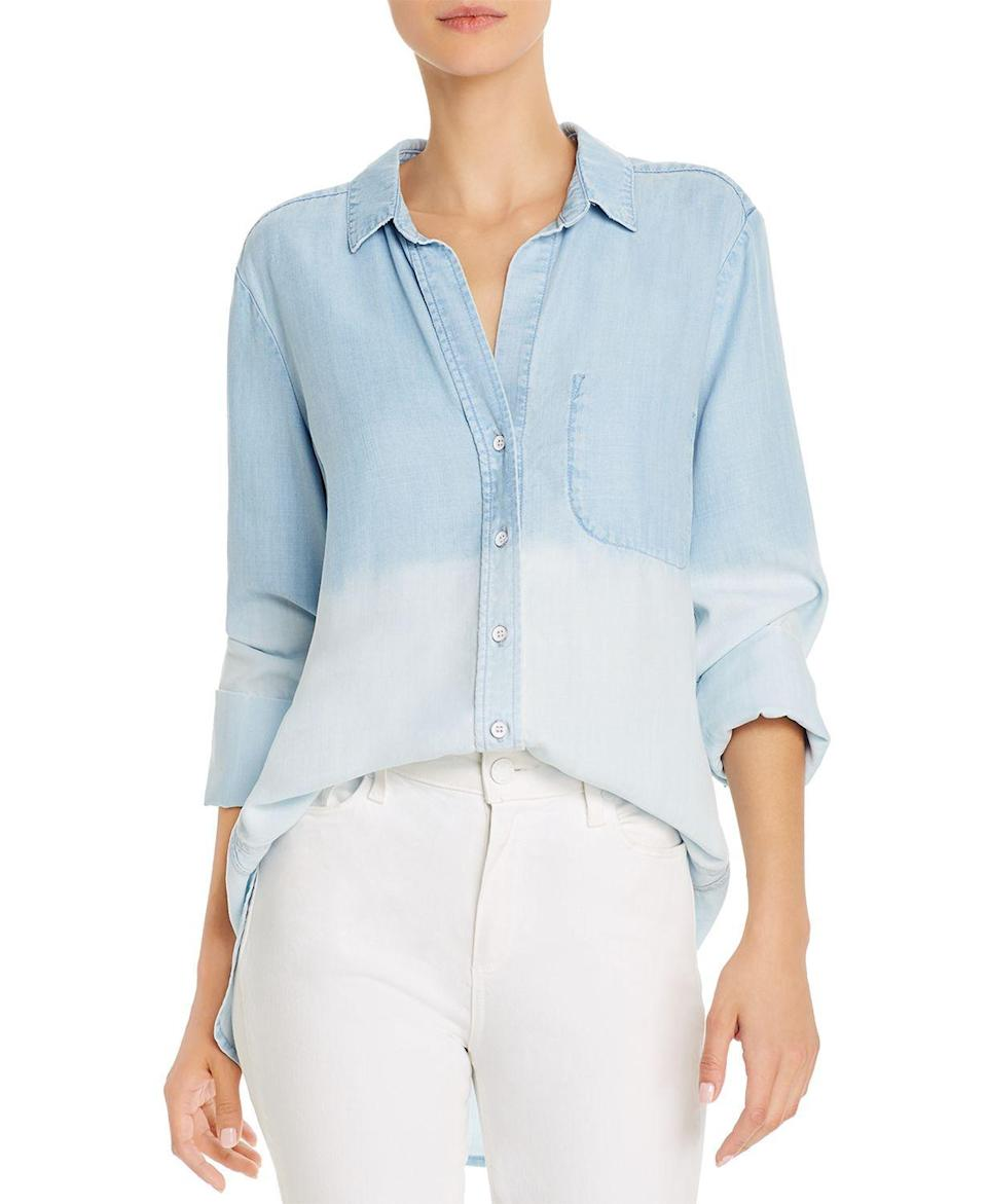 """<p><strong>Bella Dahl</strong></p><p>bloomingdales.com</p><p><strong>$163.00</strong></p><p><a href=""""https://go.redirectingat.com?id=74968X1596630&url=https%3A%2F%2Fwww.bloomingdales.com%2Fshop%2Fproduct%2Fbella-dahl-dip-dye-chambray-shirt%3FID%3D3626371&sref=https%3A%2F%2Fwww.bestproducts.com%2Ffashion%2Fg2353%2Fchambray-shirts-blouses-for-women%2F"""" rel=""""nofollow noopener"""" target=""""_blank"""" data-ylk=""""slk:Shop Now"""" class=""""link rapid-noclick-resp"""">Shop Now</a></p><p>While everyone might own <em>a</em> chambray shirt, they'll be wishing they had <em>this</em> one in their closet instead. A two-toned dip-dye design gives it major boho vibes, while an elongated open neckline makes it feel less formal.</p>"""