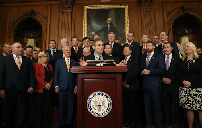 Rep. Jim Jordan (R-OH) (C), speaks during a news conference after the close of a vote by the U.S. House of Representatives on a resolution formalizing the impeachment inquiry centered on U.S. President Donald Trump October 31, 2019 in Washington, DC.