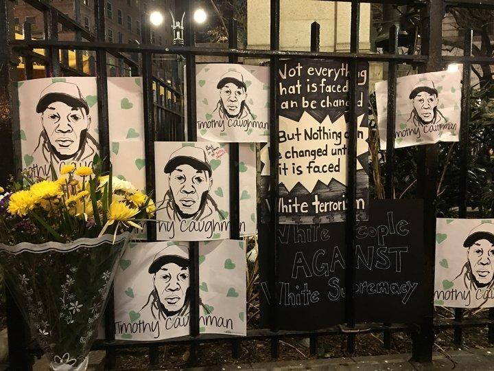 A memorial for Timothy Caughman in New York City. (Christopher Mathias)