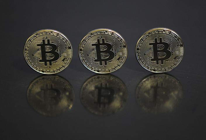 CHINA - 2021/03/12: In this photo illustration the Bitcoins are seen on display. (Photo Illustration by Sheldon Cooper /SOPA Images/LightRocket via Getty Images)