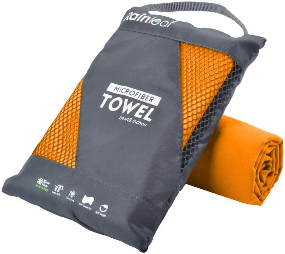 <p>The <span>Rainleaf Microfiber Towel</span> ($10) has over 2,000 five-star reviews on Amazon, praised for its superabsorbent and fast-drying qualities. Use it to quickly towel off after finishing the pool portion of your workout. The medium - 20 x 40 inches - will only set you back $10.</p>