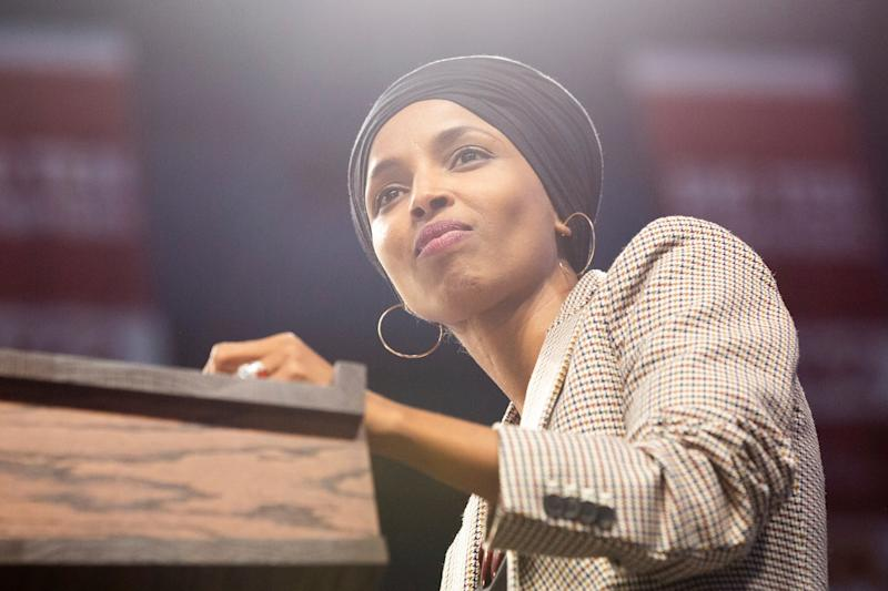 Ilhan Omar introduces Bernie Sanders at a rally in Minneapolis: AP