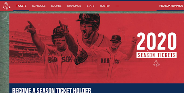 Boston Red Sox season tickets 2020 team website graphic