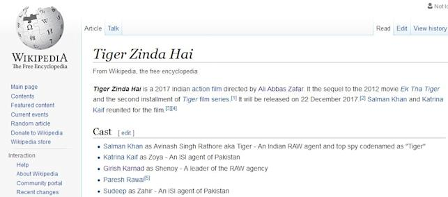 A Screen Shot of the Wikipedia page of Tiger Zinda Hai
