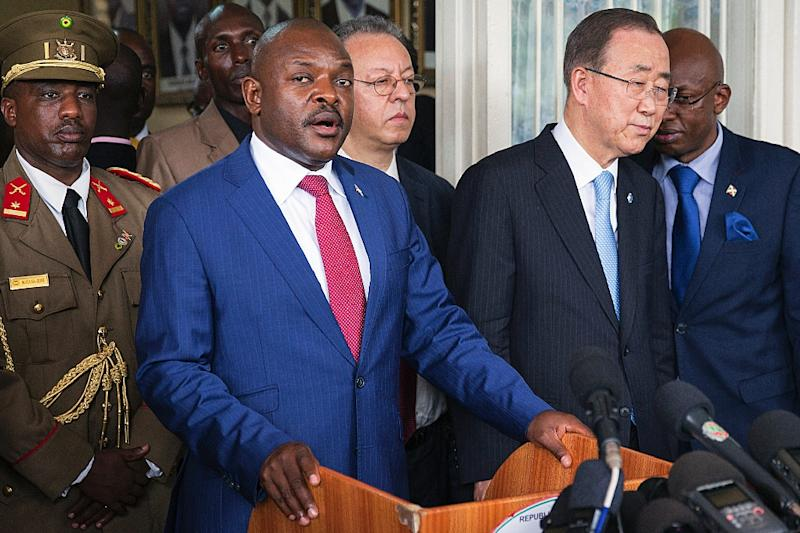 Burundi president Pierre Nkurunziza (L) and United Nations Secretary-General Ban Ki-Moon speak to the media after talks at the president's office on February 23, 2016 (AFP Photo/Griff Tapper)