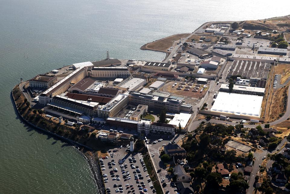 An aerial view San Quentin State Prison on July 08, 2020 in San Quentin, California. (Justin Sullivan/Getty Images)