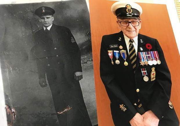 Rod Deon, when he joined the navy, and Rod Deon today. He turns 100 on July 2, and wanted to use the occasion to honour his comrades and help the Royal Canadian Legion. (Fred Hutton/CBC - image credit)