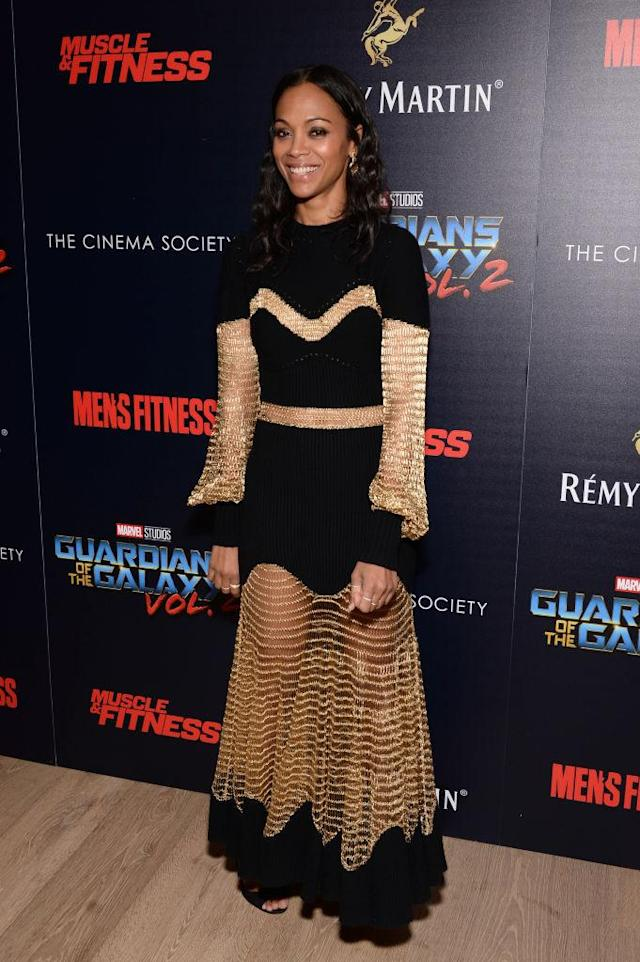 Zoe Saldana in Alexander McQueen. (Photo: Getty Images)