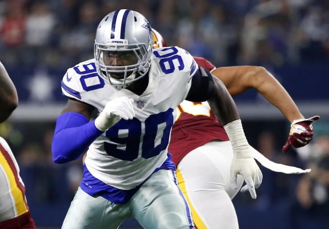 FILE - In this Thursday, Nov. 22, 2018, file photo, Dallas Cowboys defensive end Demarcus Lawrence (90) during the first half of an NFL football game against the Washington Redskins in Arlington, Texas. DeMarcus Lawrence may not reach his career high in sacks during the encore to the Dallas defensive ends breakthrough season in the NFL. By any measure from his coaches and teammates, Lawrences follow-up to 14 1/2 sacks has been a success. A big one. (AP Photo/Ron Jenkins, File)