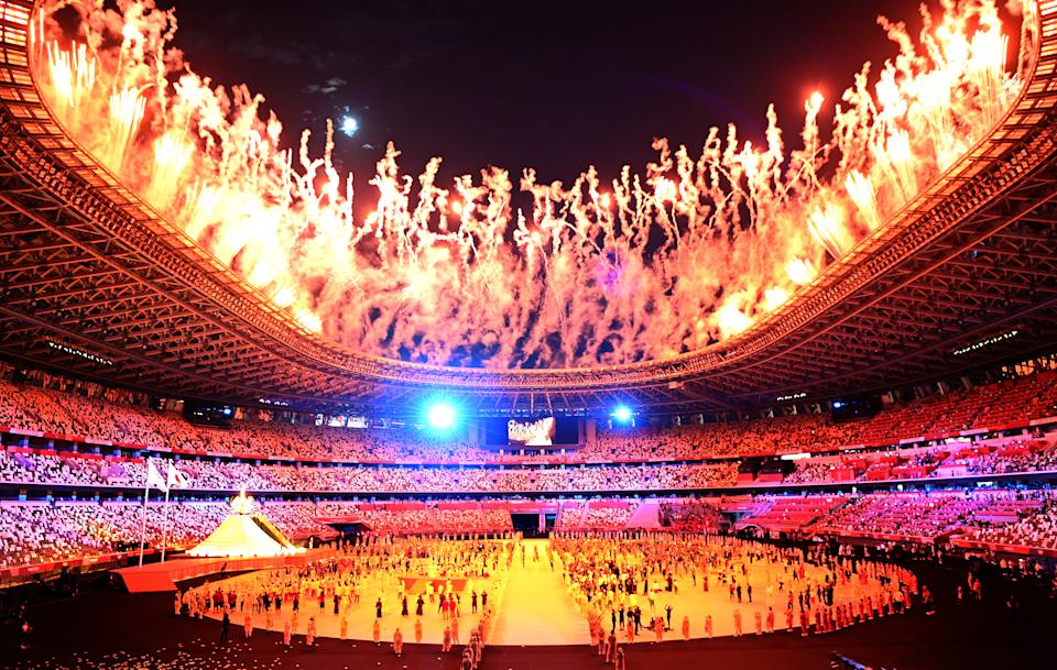 -TOKYO,JAPAN July 23, 2021: Fireworks light the sky during opening ceremonies at the 2020 Tokyo Olympics. (Wally Skalij /Los Angeles Times via Getty Images)