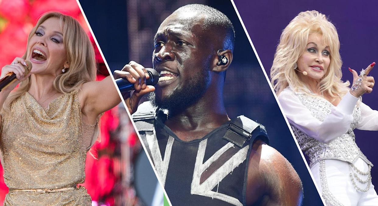 Glastonbury has given us some timeless TV moments over the years from Kylie, to Stormzy to Dolly Parton (Getty)