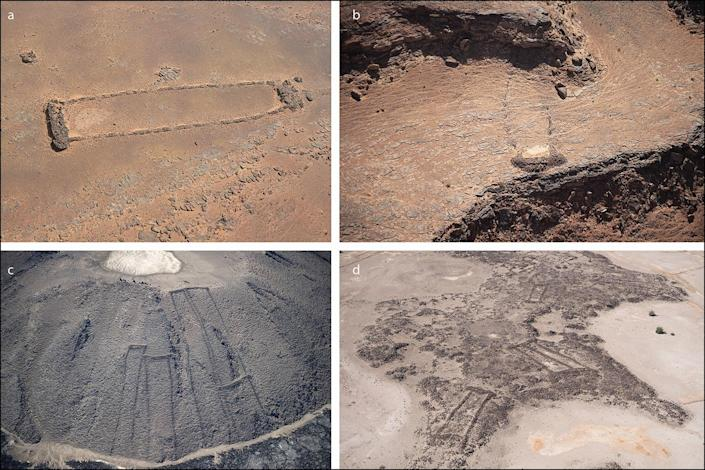 Researchers think the mustatils scattered throughout the region were built about 7000 years ago for rituals and processions, and that they may have been part of a Neolithic cult of cattle.  (AAKSA and Royal Commission for AlUla/Antiquity)