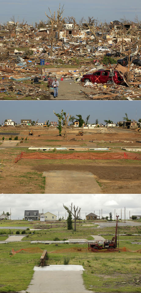 This three-photo combo shows a scene taken on May 27, 2011, top, July 21, 2011, center, and May 7, 2012, bottom, shows progress made in Joplin, Mo. in the year after an EF-5 tornado destroyed a large swath of the city and killed 161 people. In the top photo, Jim Goff carries salvaged items to his car as he helps a friend retrieve items from a destroyed home in a neighborhood now mostly cleared of debris. (AP Photo/Charlie Riedel)