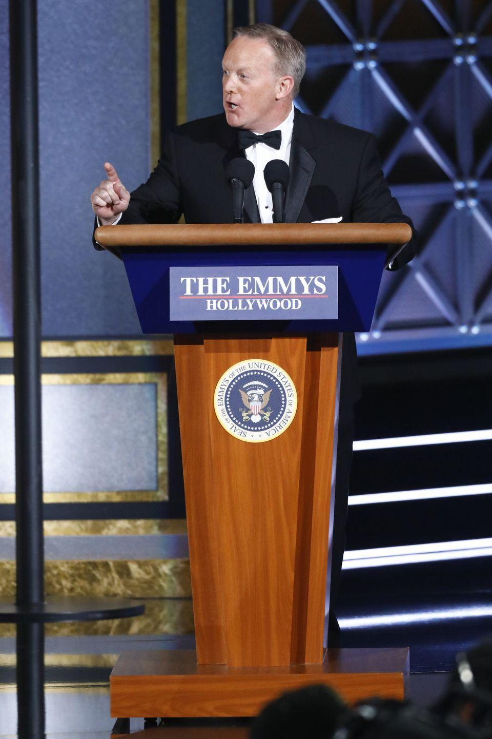 <p>It was an odd choice of a bit for the Emmys to have Sean Spicer appear on stage, and it was one that left everyone feeling uncomfortable. Spicer basically made a joke out of the job he had working for President Donald Trump, making up facts about the ceremony and saying it was the largest audience in history. </p>
