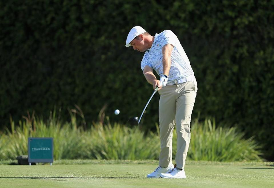 Bryson DeChambeau, who won his first PGA title at last July's John Deere Classic, closed the front nine at Bay Hill with three consecutive birdies, starting the run with an 18-footer at the par-three seventh (AFP Photo/SAM GREENWOOD)