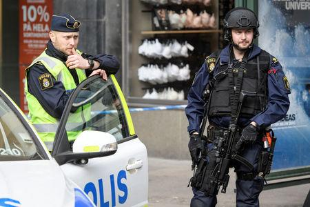 Police in central Stockholm near the crime scene
