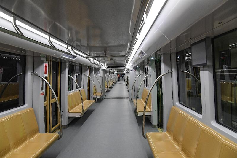A driverless train on the new metro line that connects Uskudar station with Umraniye in Istanbul