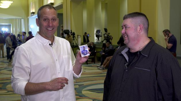 <p>Torey Lovullo opens 1990 baseball cards</p>