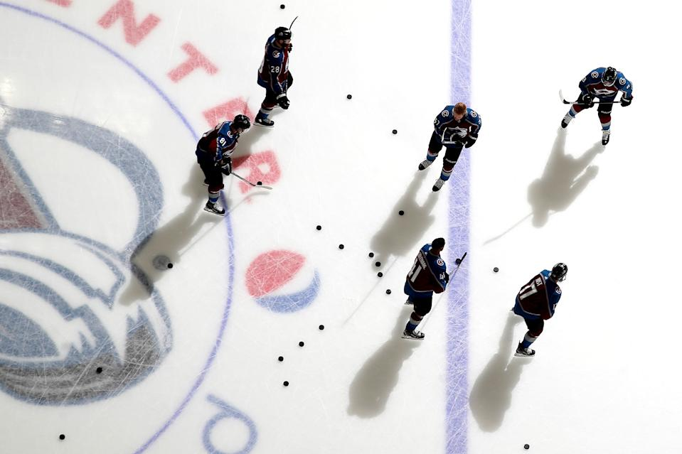 DENVER, COLORADO - MARCH 11: Members of the Colorado Avalanche skate prior to the game against the New York Rangers at Pepsi Center on March 11, 2020 in Denver, Colorado. (Photo by Michael Martin/NHLI via Getty Images)
