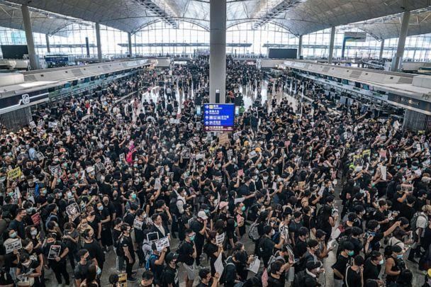 PHOTO: Protesters occupy the departure hall of the Hong Kong International Airport during a demonstration on Aug. 12, 2019. (Anthony Kwan/Getty Images)