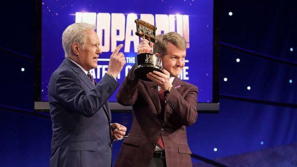 PHOTO: Alec Trebek and Ken Jennings on 'Jeopardy! The Greatest of All Time,' on Jan 14, 2020. (Eric Mccandless/ABC, FILE)