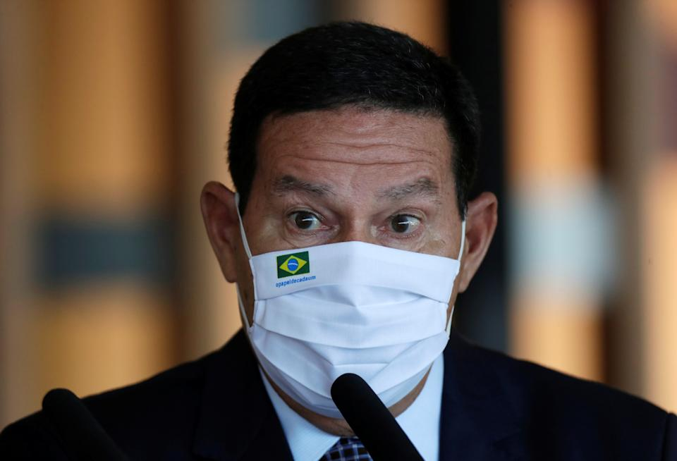Brazil's Vice President Hamilton Mourao attends a news conference at the Itamaraty Palace in Brasilia, Brazil, May 26, 2021. REUTERS/Ueslei Marcelino