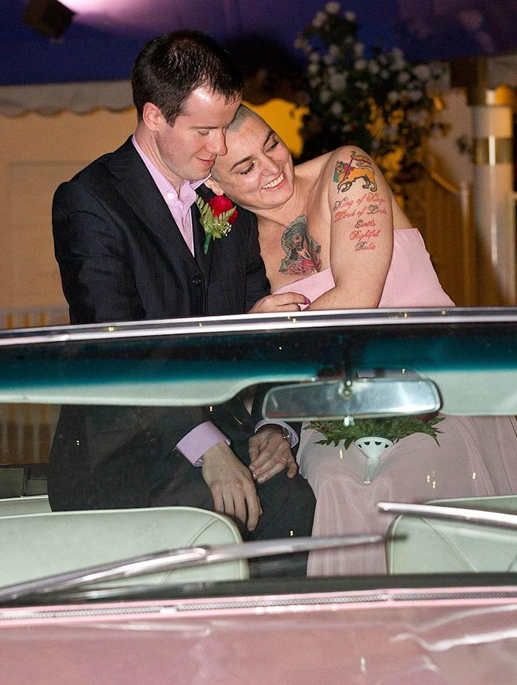 Nothing compares to Barry! Irish crooner Sinead O'Connor tied the knot for the fourth time when she married beau Barry Herridge, 38, at the famous Little White Wedding Chapel in Las Vegas on Thursday, which also happened to be her 45th birthday! Since the chapel conveniently happens to be a drive-through (because who has time for a long wedding), the couple drove up in a pink Cadillac! (12/8/2011)