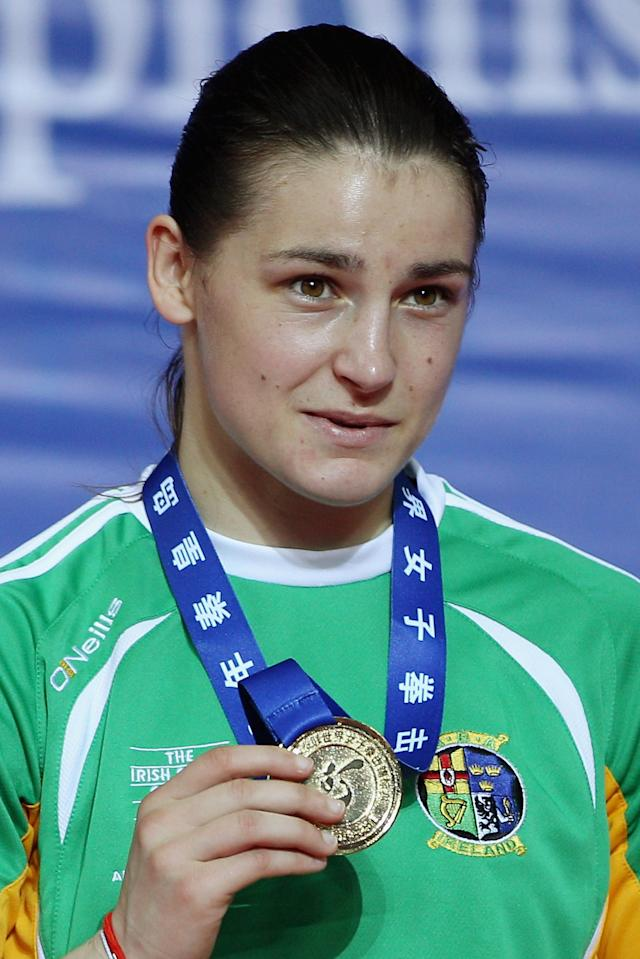 Katie Taylor of Ireland pose with her gold medal during the award ceremony of the Women's 60kg Final during the AIBA Women's World Boxing Championships on May 19, 2012 in Qinhuangdao, China. (Photo by Feng Li/Getty Images)