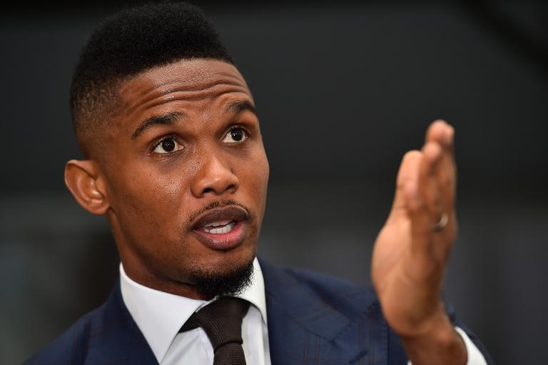Cameroonian footballer Samuel Eto'o speaks during a gala dinner at London's Kensington Palace, on March 9, 2015 (AFP Photo/Ben Stansall)